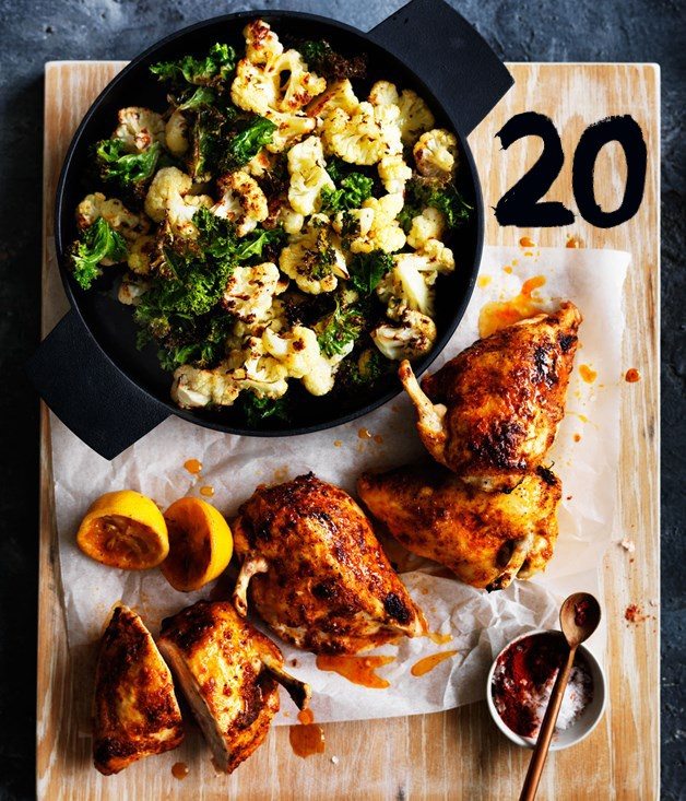 **Roast chilli chicken with cauliflower and kale**