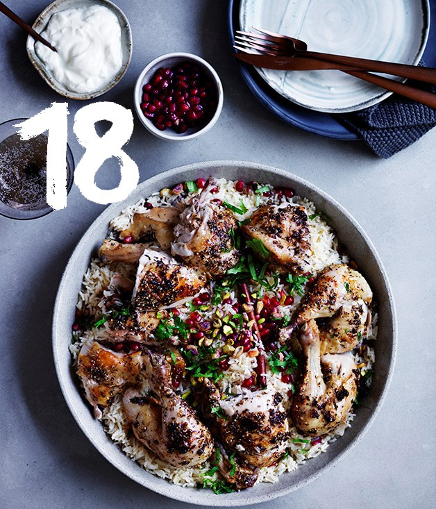 **Za'atar roast chicken with pilaf, pomegranate and nuts**
