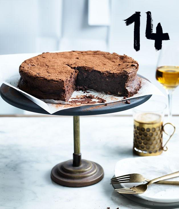 **Flourless chocolate, hazelnut and buttermilk cake**
