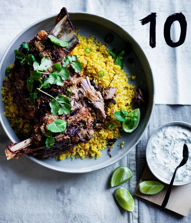 **Twelve-hour Indian-spiced lamb shoulder with saffron pilaf**