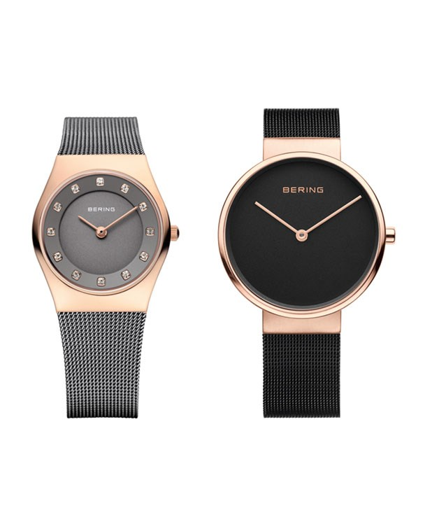 **Bering Time Watches** **Rose Gold and Grey Women's Watch(11927-369; left)**  This gorgeous grey watch - inspired by the Arctic landscape - is enriched with Swarovski crystals and rose gold accents. The charcoal dial complements the woven steel mesh band and the watch is protected against water splashes and perspiration making it a stylish day-to-daytimepiece.  _$265,__[beringtime.com.au](http://www.beringtime.com)_  **Rose Gold and Black Unisex Watch(14539-166;right)**  This Milanesewatch with its slim Danish design and rose gold case is a striking unisex timepiece. The ebony dial and woven steel mesh band will appeal to those with an elegant sense of style.The scratch-resistant timepiece befits an active lifestyle, too.  _$295,__[beringtime.com.au](http://www.beringtime.com)_