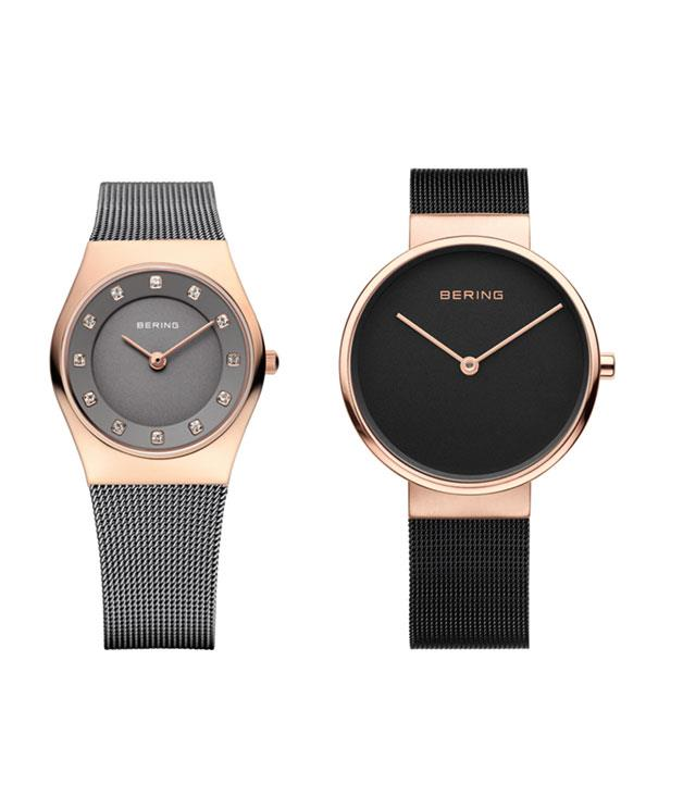 **Bering Time Watches** **Rose Gold and Grey Women's Watch (11927-369; left)**  This gorgeous grey watch - inspired by the Arctic landscape - is enriched with Swarovski crystals and rose gold accents. The charcoal dial complements the woven steel mesh band and the watch is protected against water splashes and perspiration making it a stylish day-to-day timepiece.  _$265,_ _[beringtime.com.au](http://www.beringtime.com)_  **Rose Gold and Black Unisex Watch (14539-166; right)**  This Milanese watch with its slim Danish design and rose gold case is a striking unisex timepiece. The ebony dial and woven steel mesh band will appeal to those with an elegant sense of style. The scratch-resistant timepiece befits an active lifestyle, too.  _$295,_ _[beringtime.com.au](http://www.beringtime.com)_