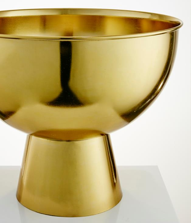 **Gourmet Traveller x Madras Link Pital Champagne Bucket** Keep your bubbles on ice in style with this stylish brass Champagne bucket, which is part of our second homewares collection, in partnership with Madras Link. Pop those corks.  _$299.95, available at Essential Ingredient stores nationally. _