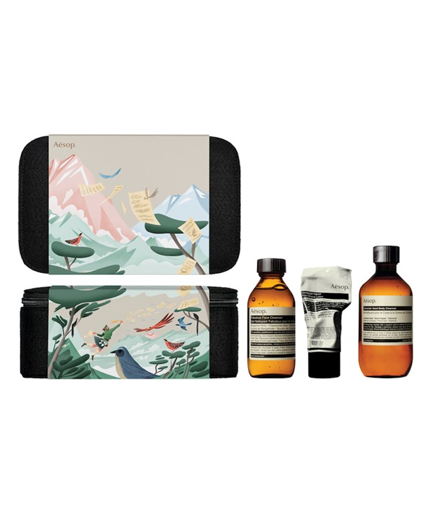 **Aesop The Intrepid Gent Gift Kit** Aesop's Gift Kit collections have been created in honour of six naturalists cherished for their writing and illustrations. With a selection of Aesop products made to cleanse, buff and beautify, the kits also come packaged in reusable amenity cases designed by Norwegian artist Bendik Kaltenborn.      _$95, [aesop.com](http://aesop.com)_