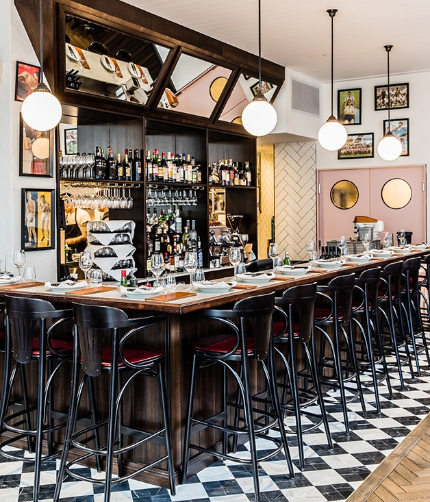 **Porteño's new bar** Completely transformed from the space which previously housed MoVida, Porteño'snew Holt Street address seats about 95 diners, with seating at the bar, on four large round tables of eight, and a large dining table toward the back.