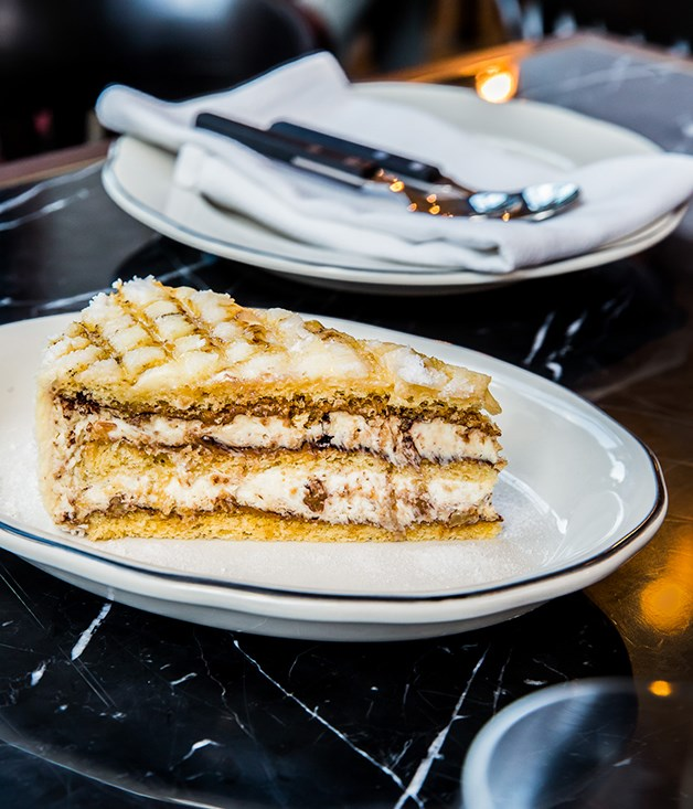 """**Postre Balcarce** """"This layered cake is named after the city ofBalcarcein Buenos Aires Province,"""" saysAbrahanowicz. """"It's so popular you can buy it everywhere. It comes in a trademarked box with the seal burned into the top. We serve it as three-layered sponge with two layers of a Chantilly, ricotta and glacéchestnut cream with chunks of meringue, dulce de leche and cocoa. It's torched on the top and dusted in sugar."""""""