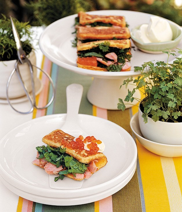"[**Ocean trout and herb omelettes**](https://www.gourmettraveller.com.au/recipes/fast-recipes/ocean-trout-and-herb-omelettes-9518|target=""_blank"")"