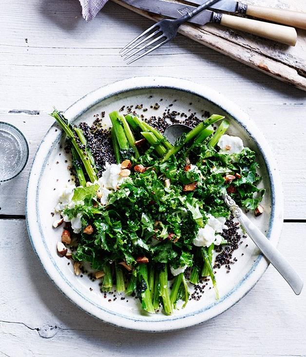 """**[Blistered kale ribs with kale-leaf and quinoa salad](https://www.gourmettraveller.com.au/recipes/browse-all/blistered-kale-ribs-with-kale-leaf-and-quinoa-salad-12022