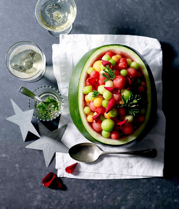 "**[Phillipa Sibley: melon balls with rose geranium leaves](https://www.gourmettraveller.com.au/recipes/chefs-recipes/philippa-sibley-melon-balls-with-rose-geranium-leaves-7482|target=""_blank"")**"