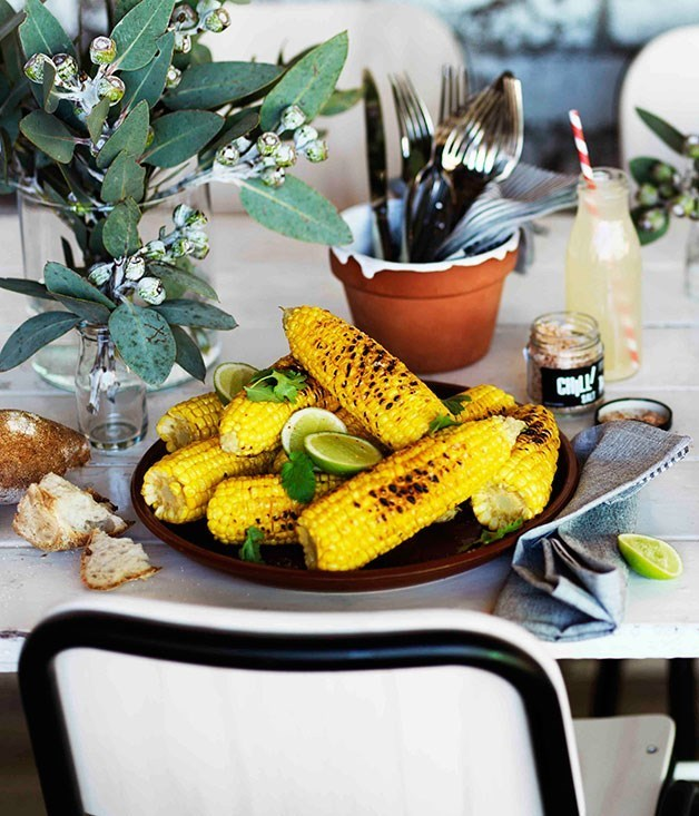 "**[Grilled corn with chilli salt](https://www.gourmettraveller.com.au/recipes/browse-all/grilled-corn-with-chilli-salt-11259|target=""_blank"")**"