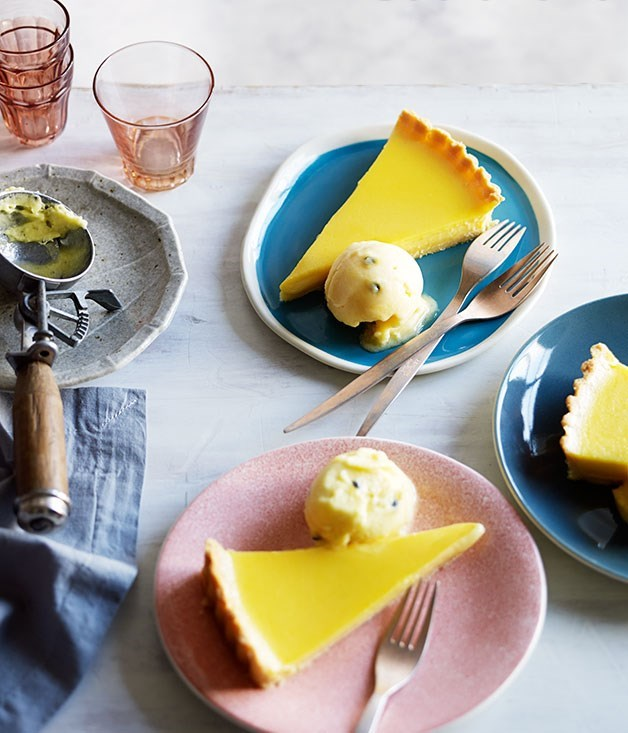 **Tahitian lime pie with passionfruit sorbet**