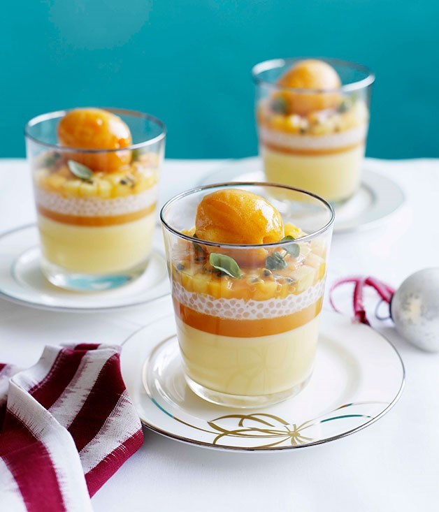 **Passionfruit posset with mango and passionfruit sorbet**