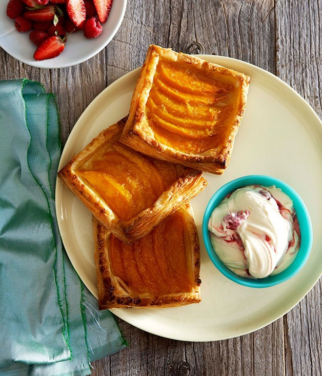 **Mango galettes with berry fool**