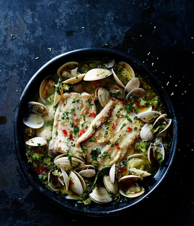 """**[Baked fish and clams](https://www.gourmettraveller.com.au/recipes/chefs-recipes/baked-fish-and-clams-8273 target=""""_blank"""")**"""