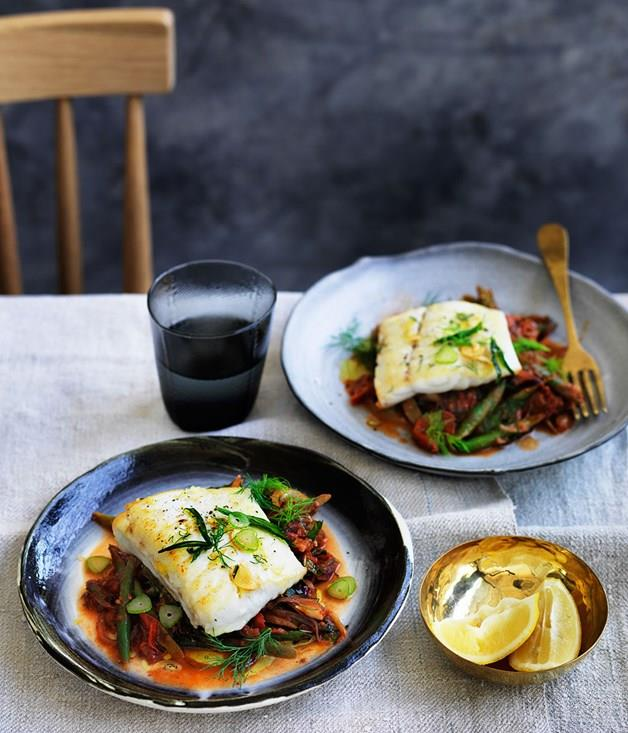 """**[Barramundi with braised green beans, dill and mint](https://www.gourmettraveller.com.au/recipes/fast-recipes/barramundi-with-braised-green-beans-dill-and-mint-13746