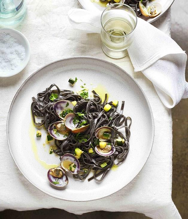 """**[Squid-ink bavette with clams and zucchini](https://www.gourmettraveller.com.au/recipes/browse-all/squid-ink-bavette-with-clams-and-zucchini-11308