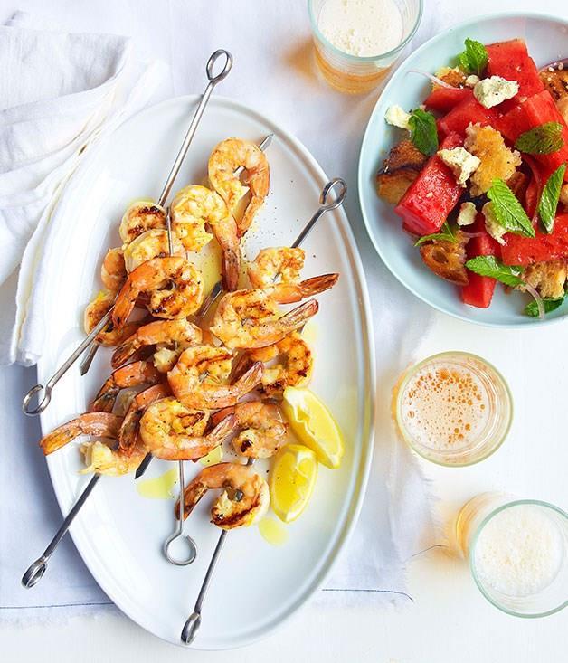 "**[Char-grilled prawns with watermelon, feta and torn bread](https://www.gourmettraveller.com.au/recipes/fast-recipes/char-grilled-prawns-with-watermelon-feta-and-torn-bread-13265|target=""_blank"")**"