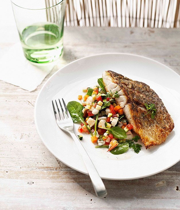 **Crisp barramundi with prawn salsa and vanilla-infused dressing**
