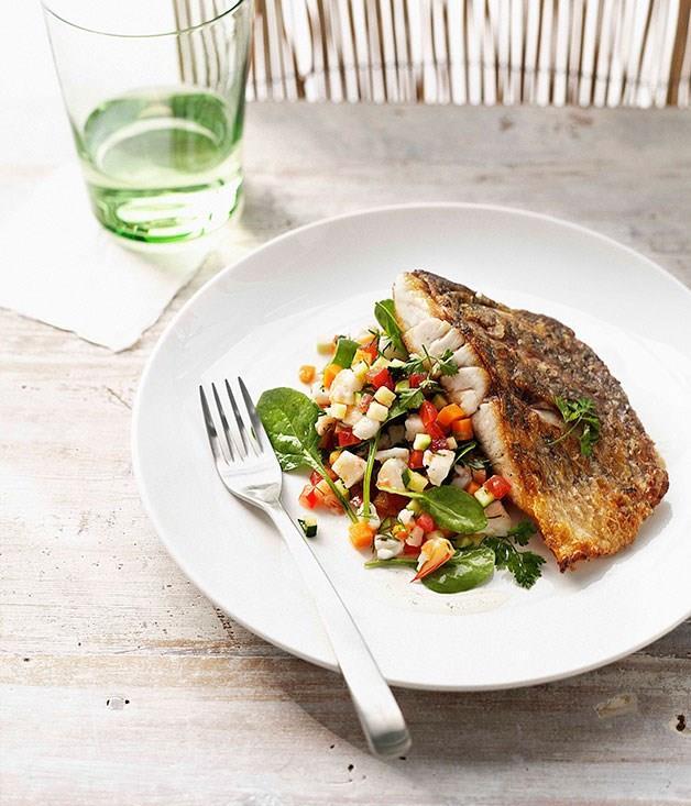 "**[Crisp barramundi with prawn salsa and vanilla-infused dressing](https://www.gourmettraveller.com.au/recipes/chefs-recipes/crisp-barramundi-with-prawn-salsa-and-vanilla-infused-dressing-8847|target=""_blank"")**"