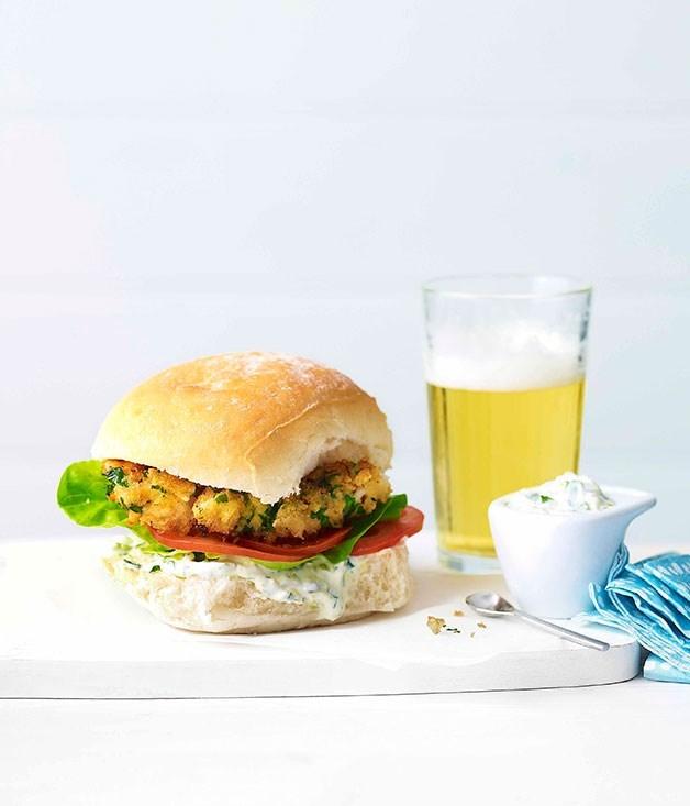 """**[Flathead burger](https://www.gourmettraveller.com.au/recipes/fast-recipes/flathead-burger-13137 target=""""_blank"""")**"""