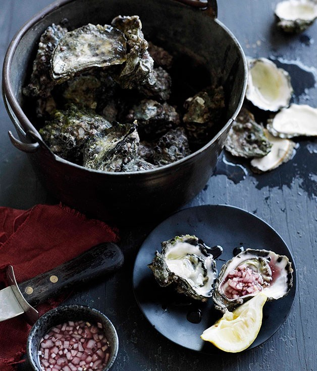 """**[Freshly shucked oysters and mignonette](https://www.gourmettraveller.com.au/recipes/browse-all/freshly-shucked-oysters-and-mignonette-10304 target=""""_blank"""")**"""