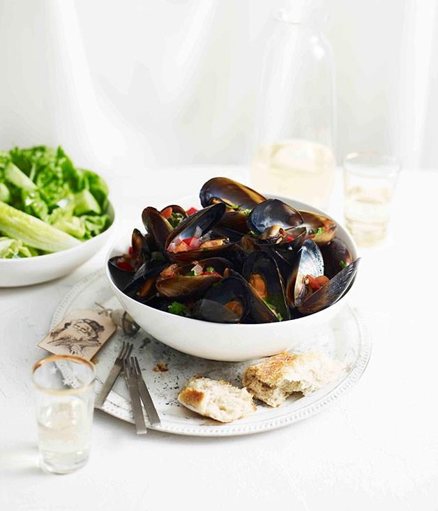 """**[Mussel vinaigrette with cucumber and mint salad](https://www.gourmettraveller.com.au/recipes/fast-recipes/mussel-vinaigrette-with-cucumber-and-mint-salad-13277