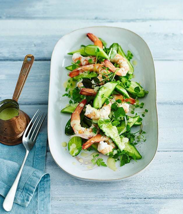 "**[Poached prawns with cucumber, chevril and lamb's lettuce salad](https://www.gourmettraveller.com.au/recipes/fast-recipes/poached-prawns-with-cucumber-chervil-and-lambs-lettuce-salad-13642|target=""_blank"")**"