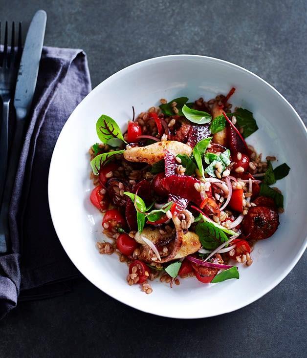"**[Squid, chorizo, spelt, blood orange and black garlic](https://www.gourmettraveller.com.au/recipes/chefs-recipes/squid-chorizo-spelt-blood-orange-and-black-garlic-8332|target=""_blank"")**"
