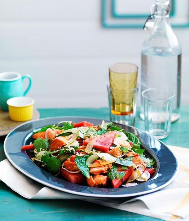 """**[Crisp salmon with mint and pickled watermelon rind salad](https://www.gourmettraveller.com.au/recipes/chefs-recipes/crisp-salmon-with-mint-and-pickled-watermelon-rind-salad-9046