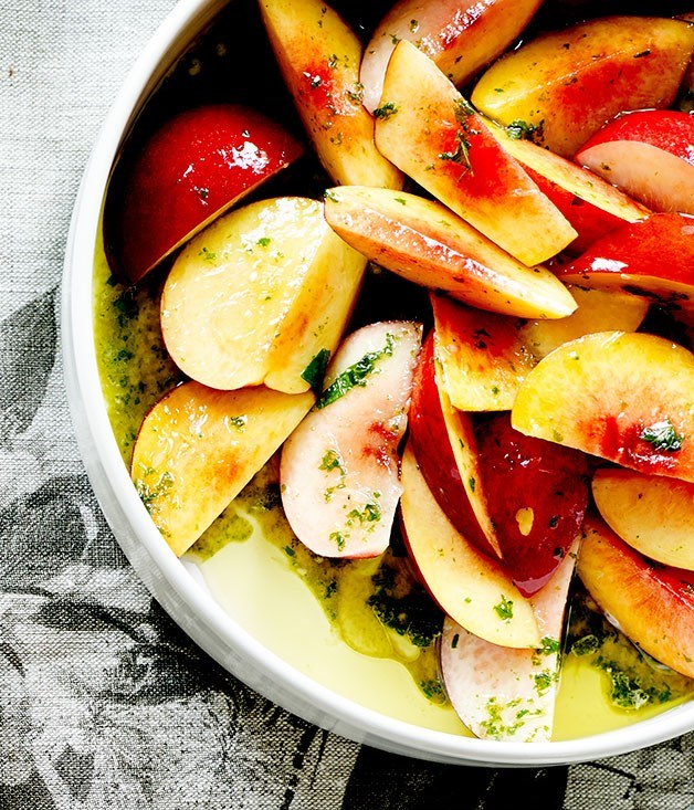 "[**Nectarine salad**](https://www.gourmettraveller.com.au/recipes/chefs-recipes/nectarine-salad-7982|target=""_blank"")"
