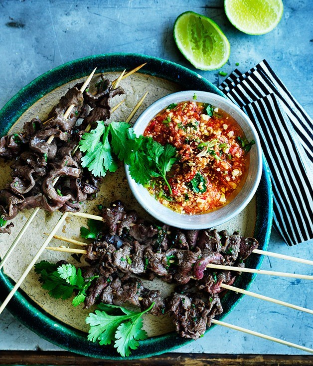 **Anticuchos** These grilled beef skewers - typically made with ox heart - originated in Peru but are also popular in Bolivia. We featured these spicy snacks in this year's July issue, dedicated to all things Latin America.  Photography: William Meppem  Styling: Vanessa Austin