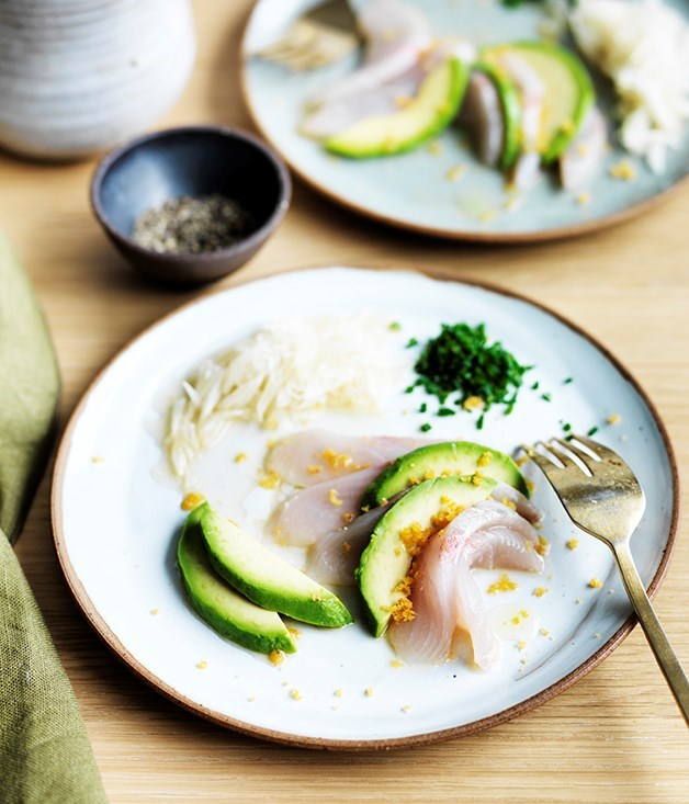 **Belon's shima aji with pomelo and avocado** At his Hong Kong restaurant Belon, James Henry uses shima aji (horse mackeral) here. Not readily available in Australia, we've subsitituted it with kingfish.   Photography: William Meppem  Styling: Nick Banbury