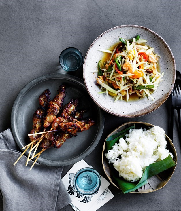 **David thompson's green papaya salad and grilled pork skewers** Coinciding with the opening of Long Chim Sydney, David Thompson's Thai street food graced the cover of our September issue. The pork is juicy and the classic som dtum is a refreshing mixture of papaya, chilli and king prawns. Hope you don't mind spice.  Photography: Ben Dearnley  Styling: Geraldine Munoz