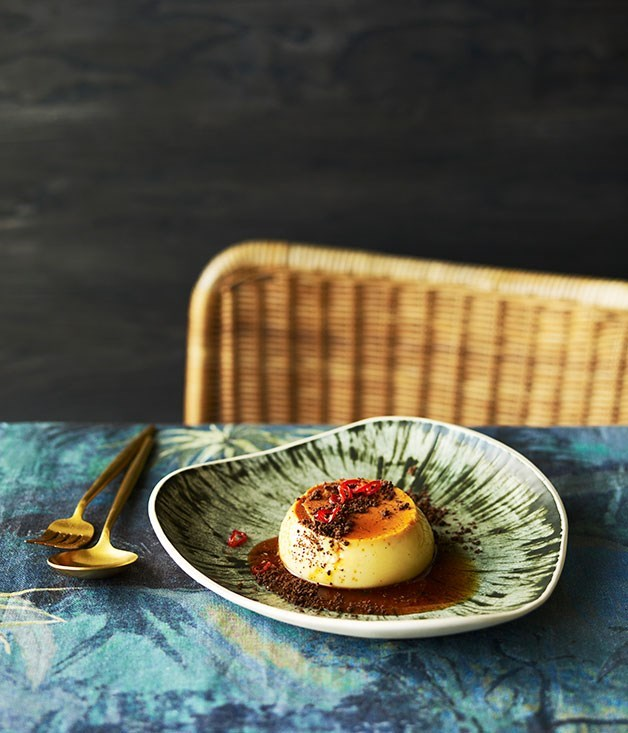 **El publico's holy trinity flans with candied chilli and chocolate crumb** As part of our Latin American issue, Perth restaurant El Público shared their recipe for a spicy-sweet flan. Wobble wobble.  Photography: Chris Chen  Styling: Nick Banbury and Claire Delmar