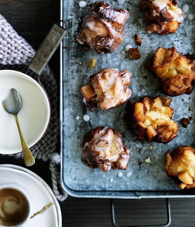**Quince and apple fritters** These sweet treats are stuffed with a quince and apple filling and are deep-fried in batches - we couldn't get enough of them in September. This photo captures the unassuming element of the dessert - a tad messy yes, but wonderfully so.   Photography: William Meppem  Styling: Emma Knowles