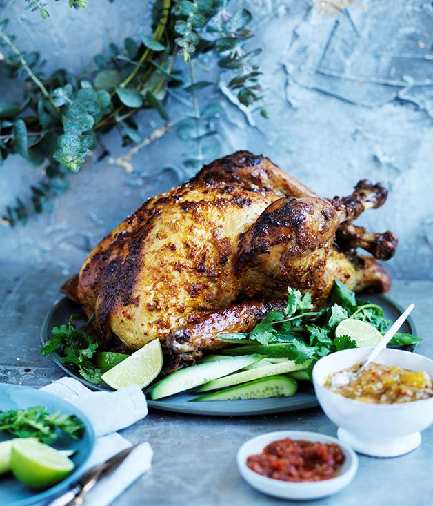 "**[Indian-spiced marinated turkey with two chutneys](https://www.gourmettraveller.com.au/recipes/browse-all/indian-spiced-marinated-turkey-with-two-chutneys-12636|target=""_blank"")**"