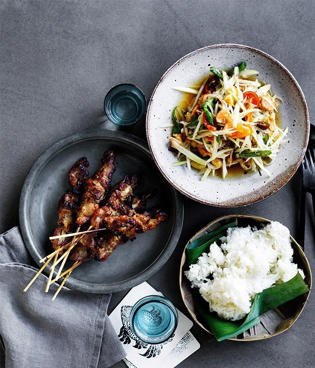 Pork skewers, rice and papaya salad at Long Chim.
