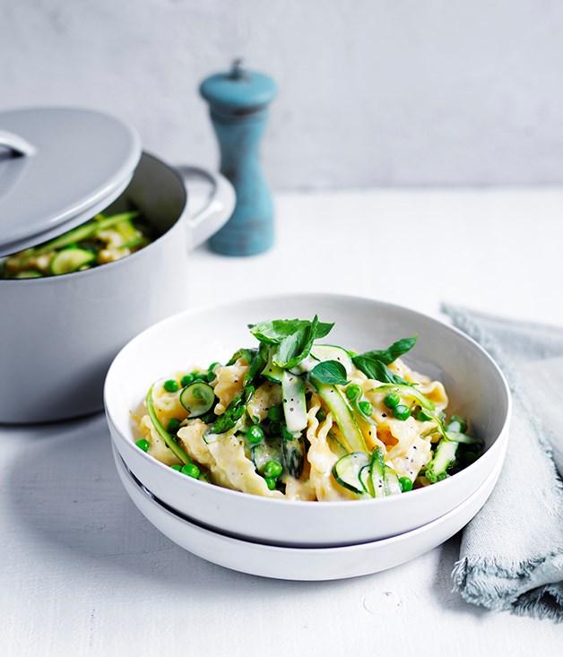 "[**Pasta and greens**](https://www.gourmettraveller.com.au/recipes/fast-recipes/pasta-and-greens-13783 target=""_blank"")"