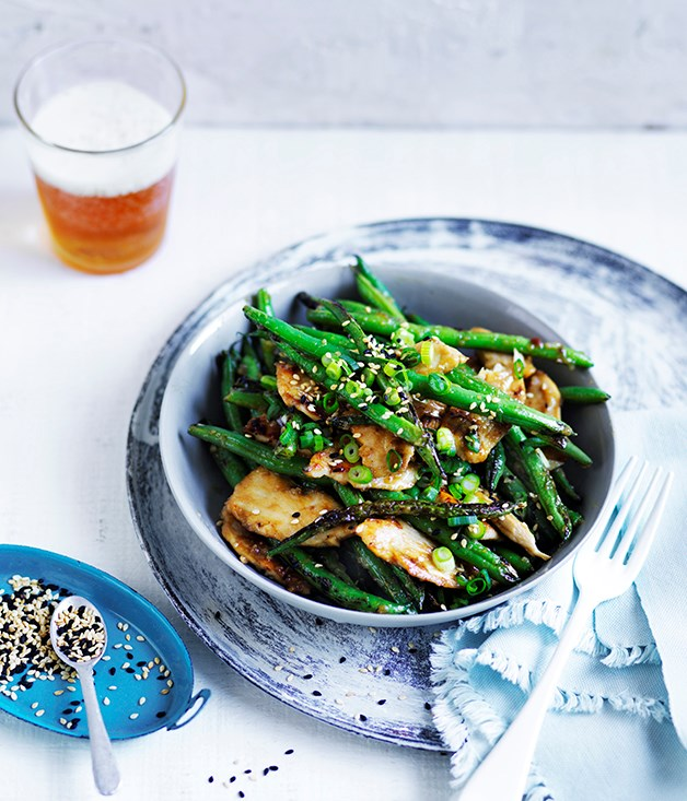 """**[Miso chicken and green beans with sesame](http://www.gourmettraveller.com.au/recipes/fast-recipes/miso-chicken-and-green-beans-with-sesame-13782
