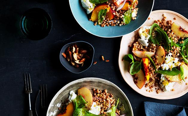 Peach, mozzarella and fregola salad