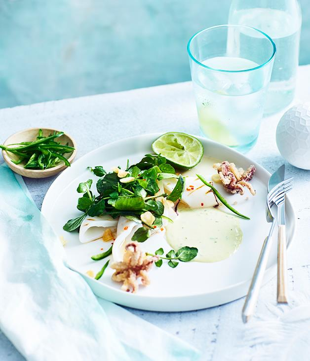 "[Jimmy Wah's grilled squid with watercress, green chilli mayo and fried garlic](http://www.gourmettraveller.com.au/recipes/chefs-recipes/jimmy-wahs-grilled-squid-with-watercress-green-chilli-mayo-and-fried-garlic-9291|target=""_blank"")"