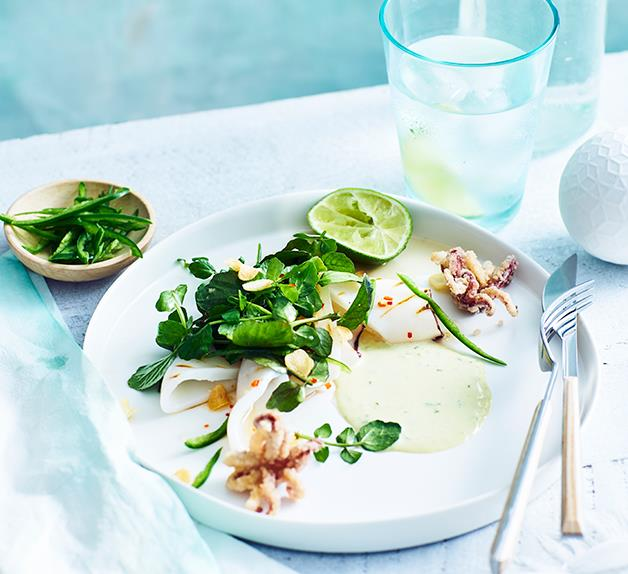 Jimmy Wah's grilled squid with watercress, green chilli mayo and fried garlic