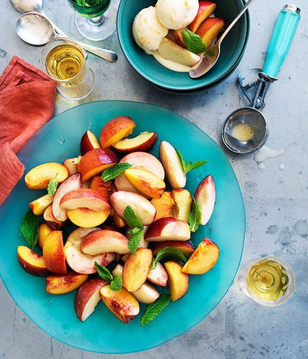 **Stone fruit salad with peach and buttermilk ice-cream**