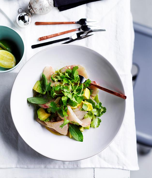 "[**White fish crudo with avocado, herbs and cucumber-lime dressing**](http://www.gourmettraveller.com.au/recipes/browse-all/white-fish-crudo-with-avocado-herbs-and-cucumber-lime-dressing-12656|target=""_blank"")"