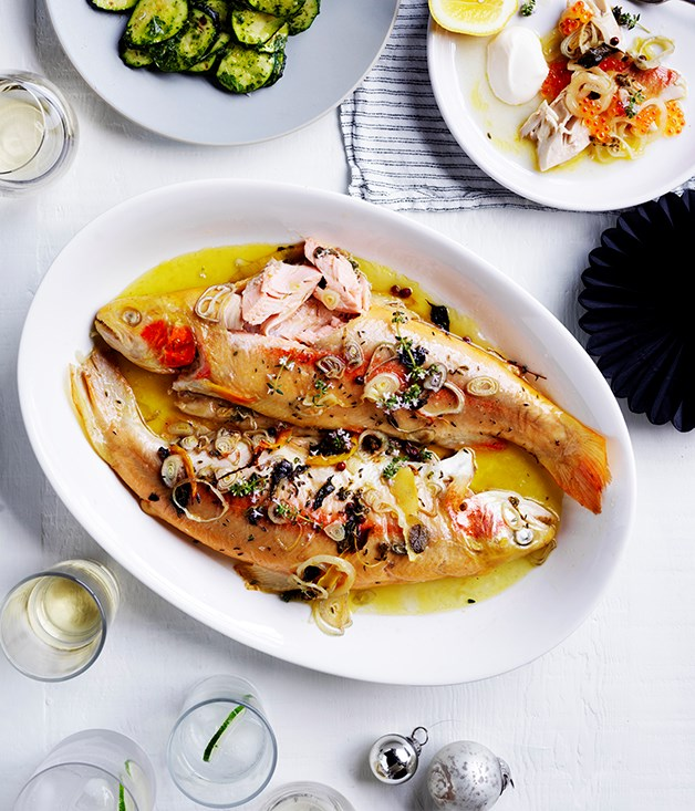 """**[Baked golden trout with roe](https://www.gourmettraveller.com.au/recipes/browse-all/baked-golden-trout-with-roe-12659 target=""""_blank"""")**"""