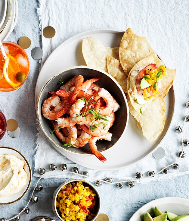 Prawn tostadas with corn relish and chipotle crème fraîche