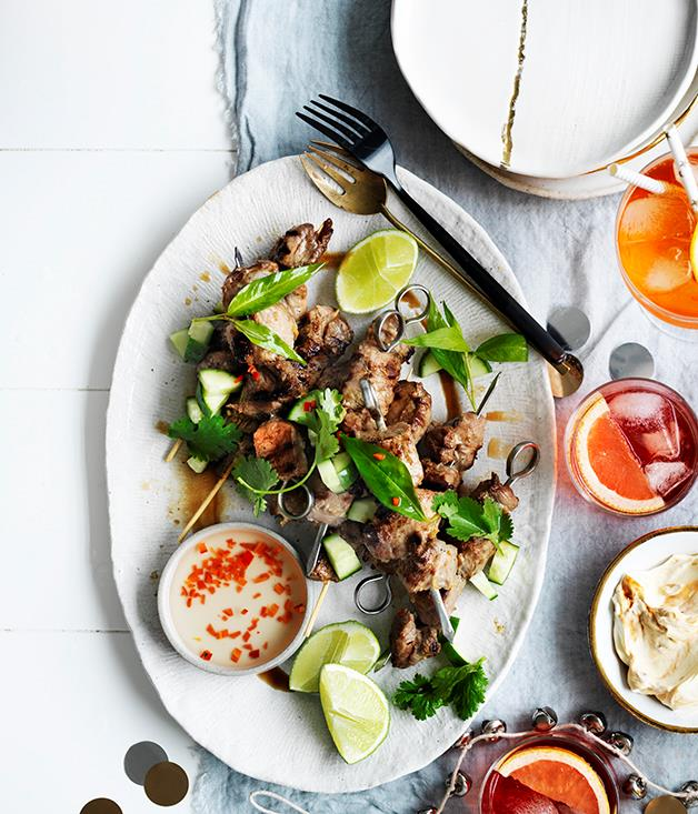 "[Sticky pork skewers](http://www.gourmettraveller.com.au/recipes/browse-all/sticky-pork-skewers-12677|target=""_blank"")"