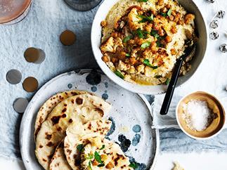 Roast cauliflower hummus with fried chickpeas and flatbread