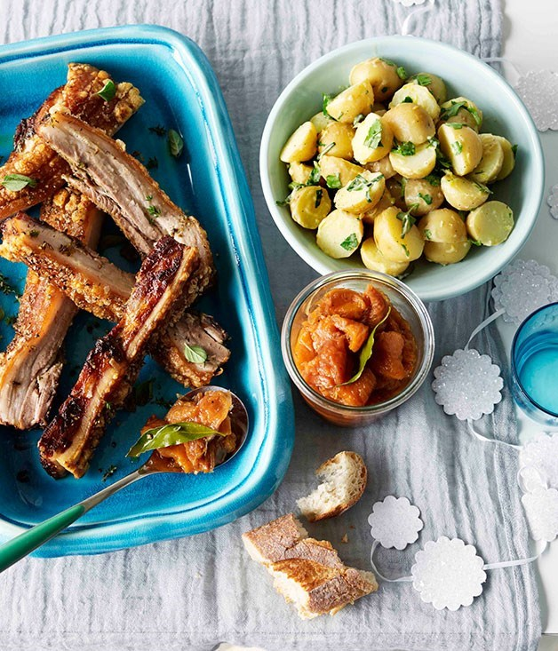 **Roast pork belly with peach relish and potato and parsley salad**