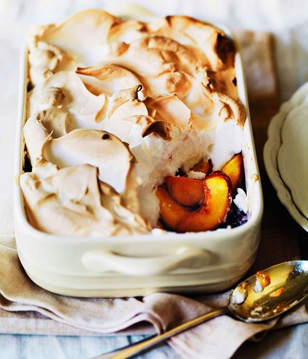 "[**Peach queen of puddings**](https://www.gourmettraveller.com.au/recipes/browse-all/peach-queen-of-puddings-11519|target=""_blank"")"